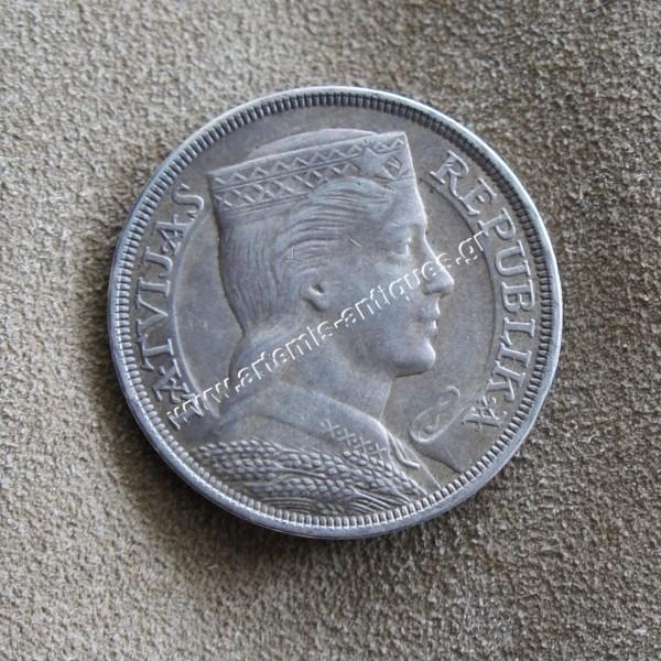 Νόμισμα Λετονίας 5 Lati 1929