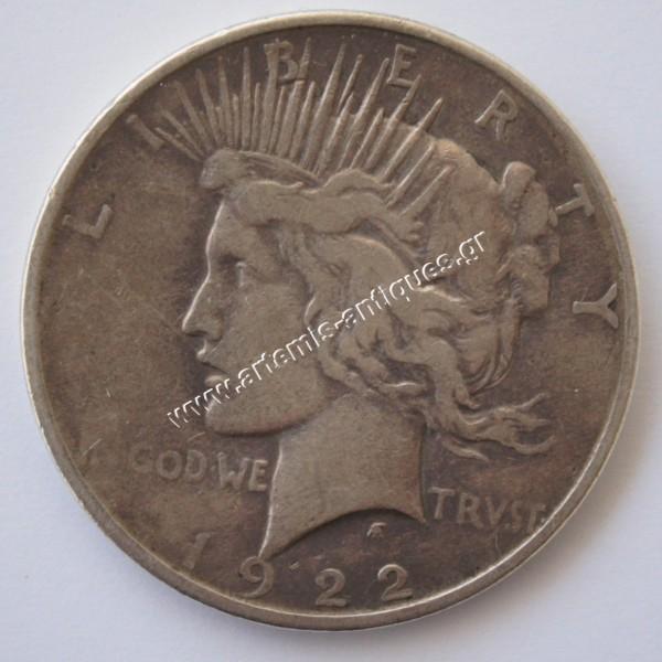 1 Dollar 1922 D Peace Dollar