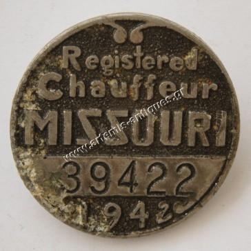 Registered Chauffeur Metallic Badge 1942