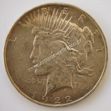 "1 Dollar "" Peace Dollar "" 1922 D"