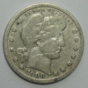 "Quarter Dollar 1908 D "" Barber Quarter """