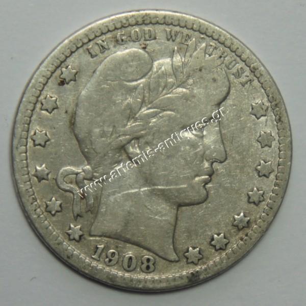 1/4 Δολάριο 1908 D