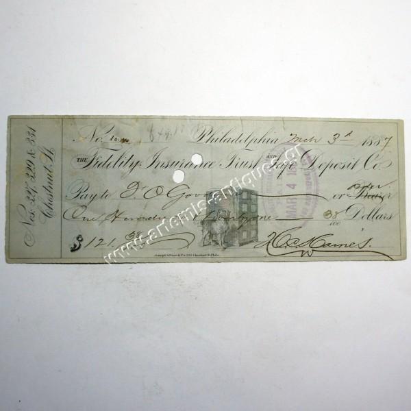 Αμερικάνικη Επιταγή 1887
