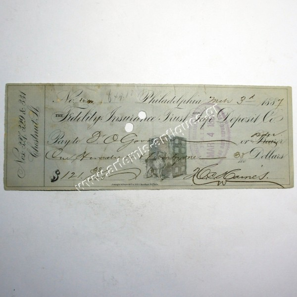 Fidelity Insurance Check 1887