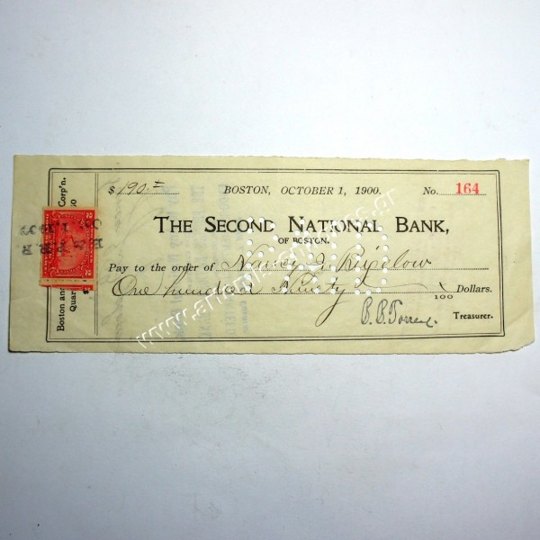 Second National Bank of Boston Check 1900