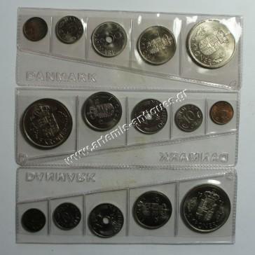 3 Complete Coin Sets 1974-1975-1976 Denmark