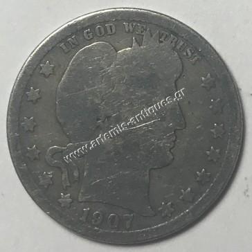 """25 Cents 1907 """" Barber Quarter """""""