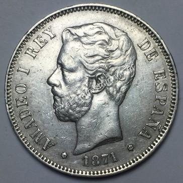 5 Pesetas 1871(75) DE M Ισπανία