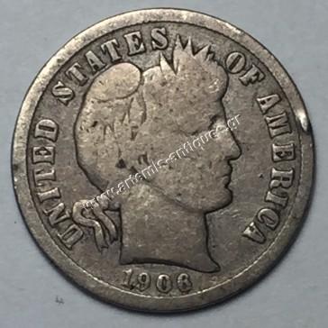 "10 Cents 1906 D ""Barber Dime"""