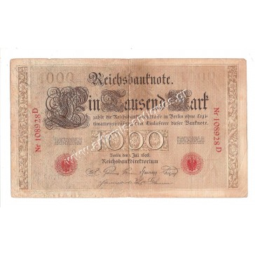 German 1000 mark reichsbanknote dated 1 Juli 1898