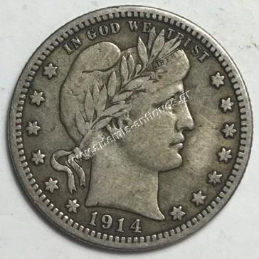 Quarter Dollar 1914 Barber Quarter